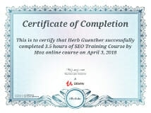 MOZ SEO Training Certificate